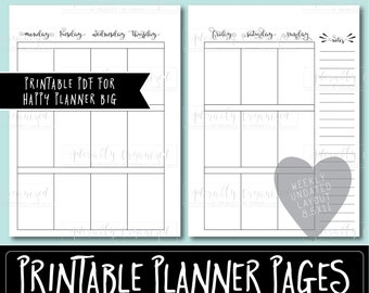 HAPPY PLANNER PRINTABLE Daily Planner Refills / Inserts 7 x