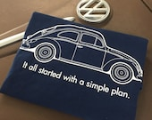 Volkswear Simple Plan Volkswagen Bug T-shirt.  100% Cotton T with screen print front and back. Navy Blue.  S-2XL