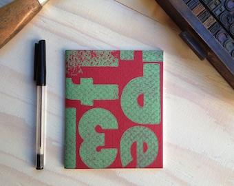 Quaderno Letterpress: VerdeSuRosso / GreenOnRed Letterpress Notebook