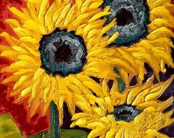 Sunflower decor, sunflower painting, sunflower oil painting, sunflower art, fire, home decor, oil painting, sunflowers, sunflowers art
