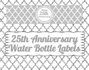 25th Anniversary Water Bottle Labels- INSTANT DOWNLOAD