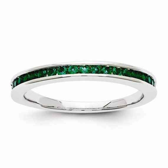 beautiful 14 karat white gold emerald ring