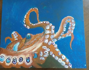 Acrylic Octopus on recylced wood