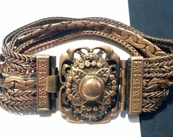 Vintage Ornate Brass Bracelet