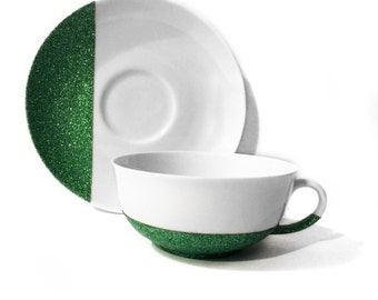 "Green Glitter ""Dipped"" China Tea Cup & Saucer"