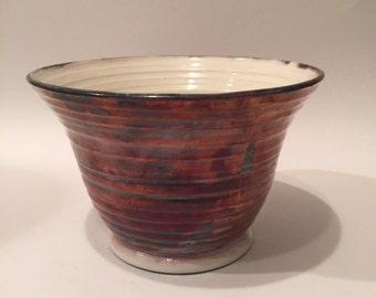 Copper and White Raku Bowl