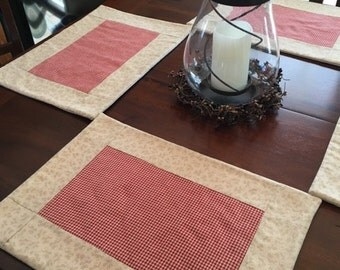 Country Red Plaid Placemat Set