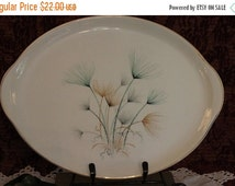 """Fall Clearance Sale Crooksville China 13.5"""" Tab Handled Serving Platter - Green and Gold Windfowers on Ivory Background"""