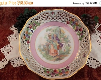 """End Of Summer SALE Vintage Schumann German Porcelain Reticulated 9.25"""" Bowl with Colonial Courting Couple Scene"""
