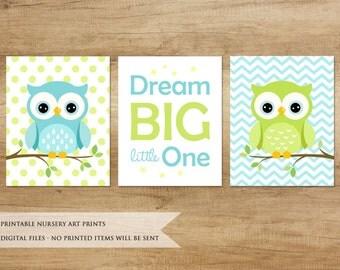 Nursery Print. Owl Print. Nursery Printable. Nursery Decor. Nursery Animals. Baby Boy Nursery Decor. Green & Blue Nursery Art