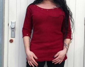Red fleece sweater