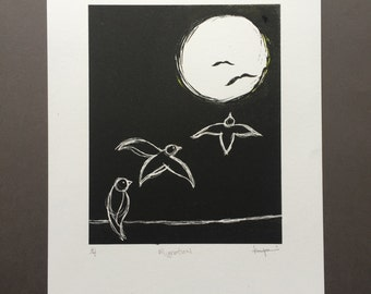 Migration - Hand-pulled Black and White Lithograph Print