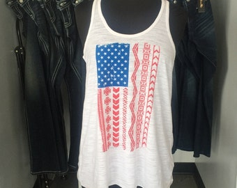 American Flag - Flowy Tank