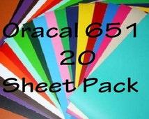 Oracal 651 12x12 Sheets - Adhesive Vinyl - Decal Vinyl - Gloss Vinyl - Vinyl Sheet - Craft Vinyl - Craft Vinyl Suplly - Adhesive Vinyl Sheet