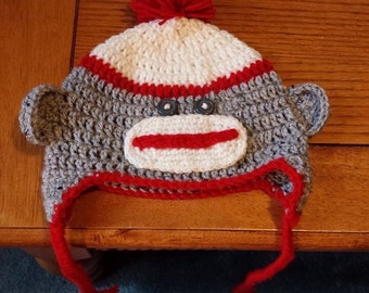 Sock Monkey. Size newborn -adult. Hand crocheted