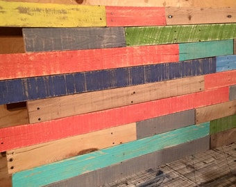 Funky color wood wall art