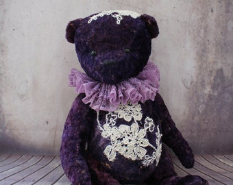 Artist Teddy Bear Bruno-Handmade Teddy Bear -Vintage Teddy Bear-Textile -Dollhouses-Interior Toy-Dolls&Miniatures-Art Collectibles