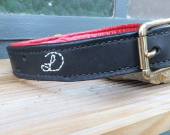 Black leather dog collar