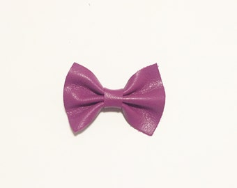 Leather Baby Bow,  Baby Bow, Plum Leather Bow, Purple Bow