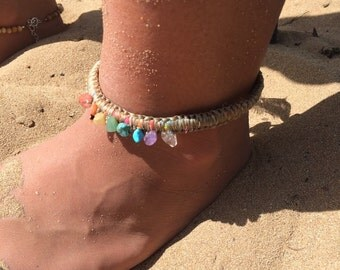 Rainbow goddess anklet