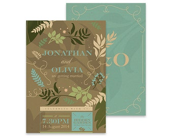 Rustic Wedding Invitation | Forest Wind | Printable DIY Invite, Affordable Wedding Invitation | Brown and blue leaves