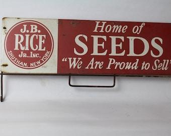 Vintage Farm Sign J B Rice Seeds