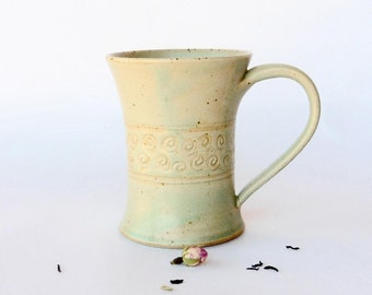 Green mug,  snails decoration, stoneware