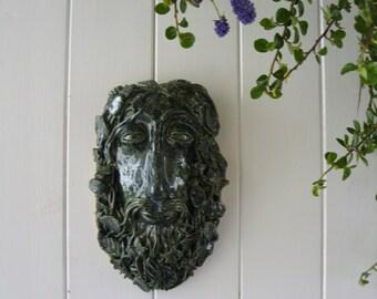 Ceramic Stoneware Hand Crafted Green  Man Garden Plaque