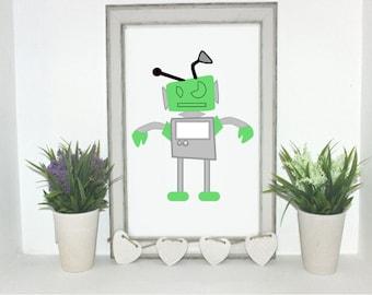 Green robot 1, digital print.