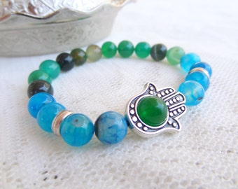 EXPRESS SHIPPING,Blue,Green Agate Bracelet, Men's Hamsa Hand Protection Bracelet, Good Luck,Mala,Yoga,Meditation,Spiritual,Reiki,Sacral