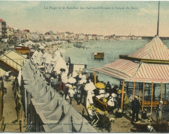 Beach & Promenade @ Les Sables-d'Olonne WESTERN FRANCE 1911 Antique POSTCARD Carte Postale