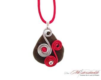 Necklace red silver Aluschmuck unique