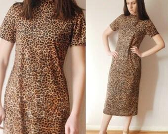 vtg 90's GRUNGE Leopard animal print velveteen stretch midi dress M