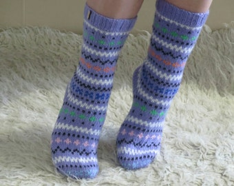 Socks  knitted, purple, lilac, jacquar, pattern, Nepal style, Free shipping,hand-knit