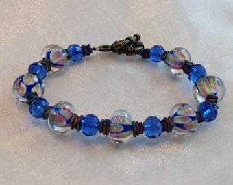 blue  glass lampwork bracelet