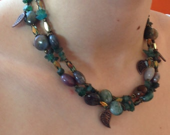 long mixed-materials necklace