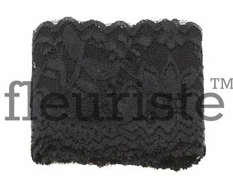 Elastic Lace, Lace Ribbon, Stretch Lace, Elastic Lace Trim, Lace by the yard, Lace Trim, Stretchy Lace, Lace Elastic, 2.25 inch, Black