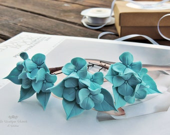 Hairpins for hair, Hairpins for bride , blue Hairpins , Hairpins with flowers , blue hydrangeas , blue hydrangeas , clothespins , Bride