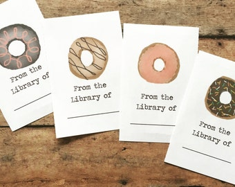 Doughnut Bookplates, Set of 12 or 24