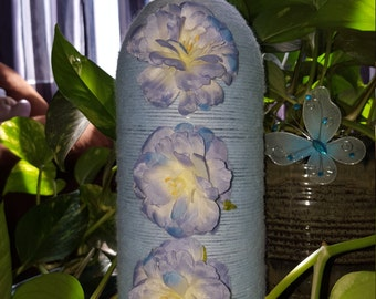 Light Blue Up-Cycled Vase with 3 Silk Camellia Japonica Flowers