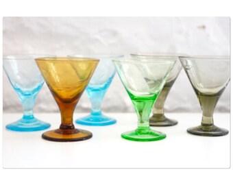 Colorful shot glass set with stems Japan rosette Gimbels