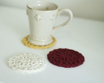 Retro Cotton Coasters Set of 6 - Lacy Retro Coasters - Antique Coasters - Trivets - Housewarming Gift - Vegan - Vintage Coasters - Burgundy