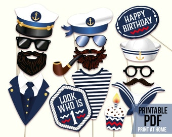 Nautical First Birthday photo booth props: printable PDF file. Captain hat, sailor hat, ship crew, cruise party, anchors away party theme.