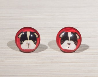Boston Terrier Earrings, boston terrier stud earrings, dog earrings, dog lover gift