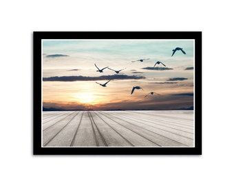 Birds Sunset Beach Ocean Seascape Photography Nautical Decor. Fine art photography. Seaside Boardwalk Nature Print