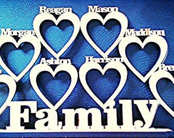 Personalised Family Member Photo Frame 1-8 names