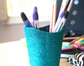 Turquoise Glitter Pencil Cup, Office Supplies, Glitter Office Supplies,  Pencil Cup, School