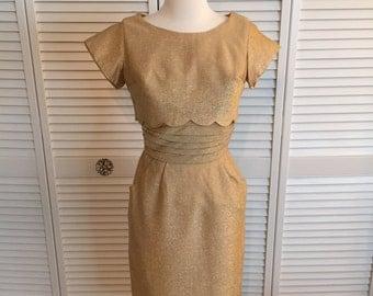 1950s gold lurex dress with matching bolero
