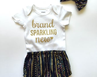 Gold Glitter Bling - Brand Sparkling New Onesie - Welcome Home Gift -Hospital Outfit -Baby Shower Gift -Baby Announcement - Take Home Outfit