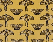 knit fabric, sold by the yard, organic cotton, yellow moth print